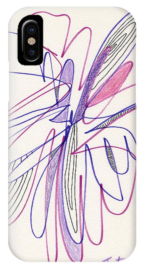Abstract IPhone X / XS Case featuring the drawing Abstract Drawing Fifty-six by Lynne Taetzsch
