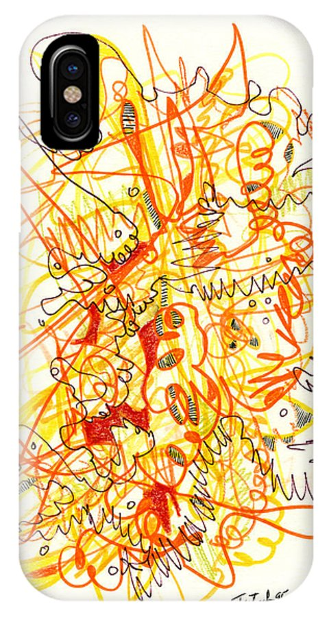 Abstract IPhone X / XS Case featuring the drawing Abstract Drawing Fifty-three by Lynne Taetzsch