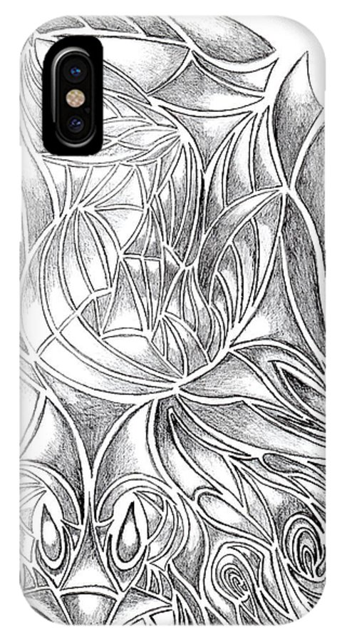 Monochromatic IPhone X / XS Case featuring the drawing Abstract Drawing Owl Hands Roses by Minding My Visions by Adri and Ray