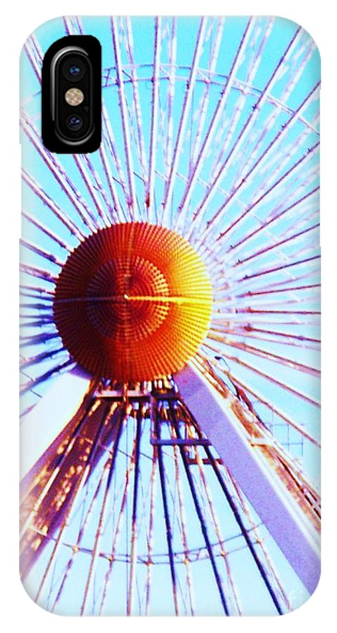 Abstract IPhone X Case featuring the painting Abstract Ferris Wheel by Eric Schiabor