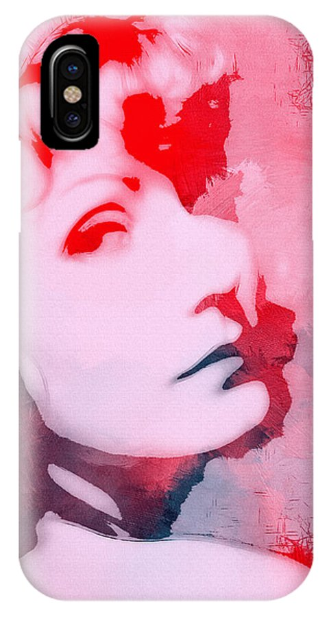 Greta Garbo Famous Star Actress Swedish Vintage Expressionism Face Portrait Painting Surreal Look Woman Beauty Female Abstract IPhone X Case featuring the painting Abstract Garbo by Steve K
