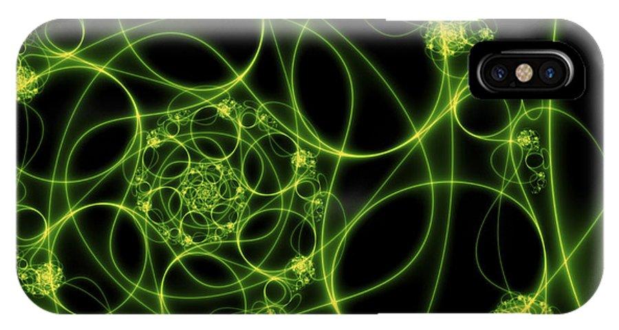 Digital Art IPhone X Case featuring the digital art Abstract Green Light Fractal by Gabiw Art