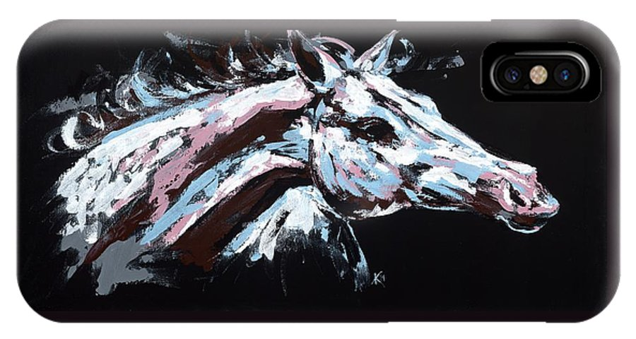Abstract Horse IPhone X Case featuring the painting Abstract Horse by Konni Jensen
