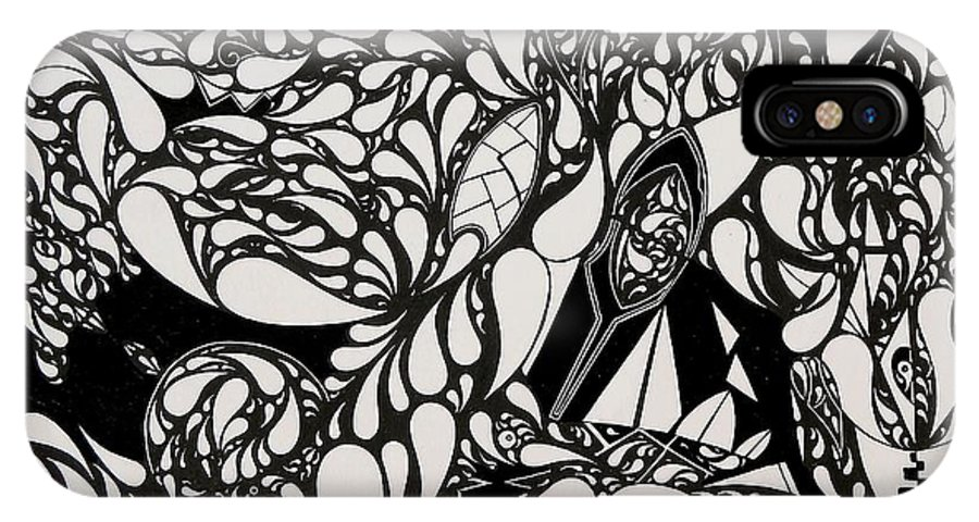 Abstract IPhone X Case featuring the drawing Abstract by Matthew Morpheus