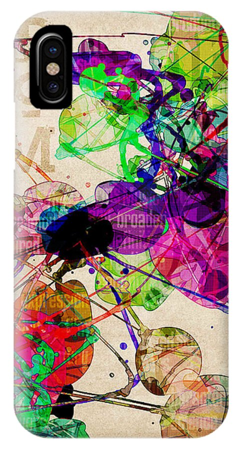 Abstract IPhone X Case featuring the digital art Abstract Mixed Media by Phil Perkins