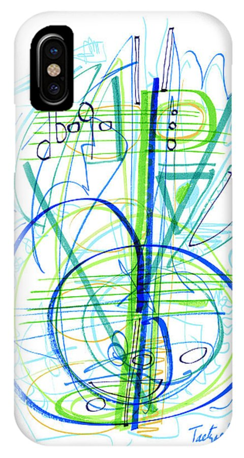 Abstract IPhone X Case featuring the drawing Abstract Pen Drawing Fifty-eight by Lynne Taetzsch