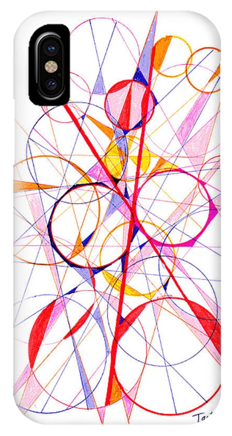 Abstract IPhone X Case featuring the drawing Abstract Pen Drawing Fifty-one by Lynne Taetzsch