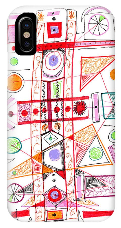Abstract IPhone X Case featuring the drawing Abstract Pen Drawing Fifty-two by Lynne Taetzsch
