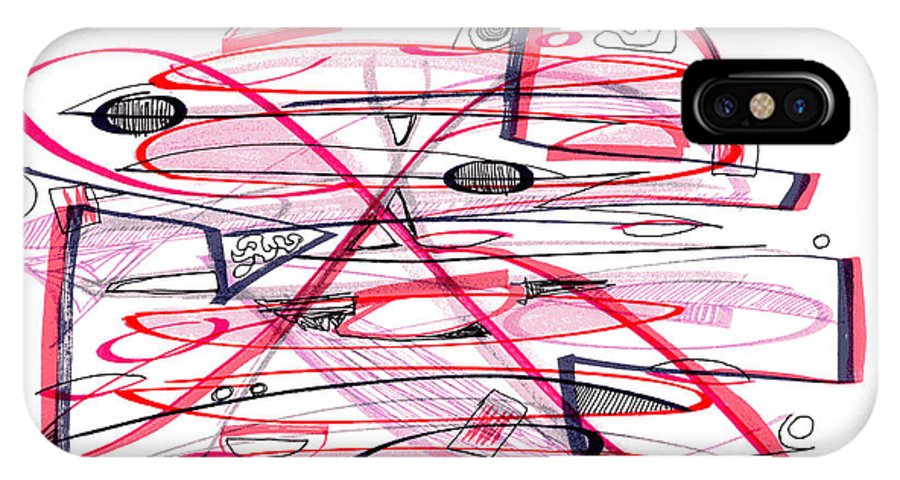 Abstract IPhone X Case featuring the drawing Abstract Pen Drawing Forty-eight by Lynne Taetzsch