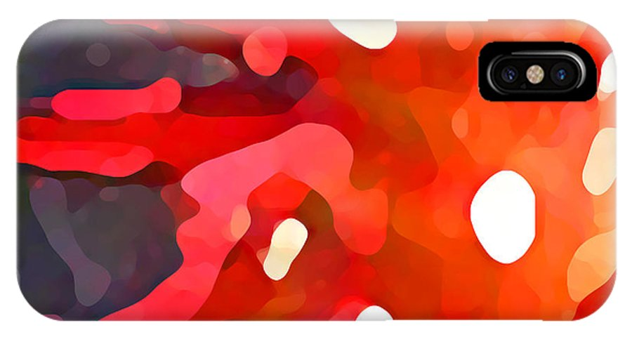 Bold IPhone X Case featuring the painting Abstract Red Sun by Amy Vangsgard