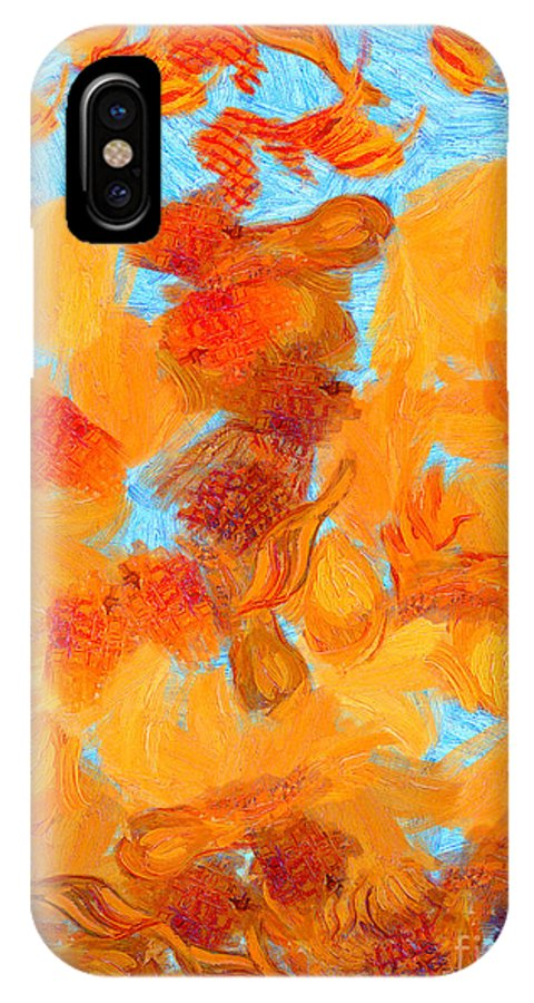 Van Gogh IPhone X Case featuring the painting Abstract Summer by Pixel Chimp