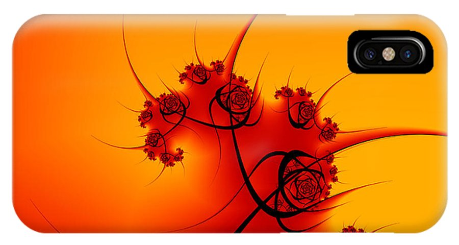 Digital Art IPhone X Case featuring the digital art Abstract Sunset Fractal by Gabiw Art