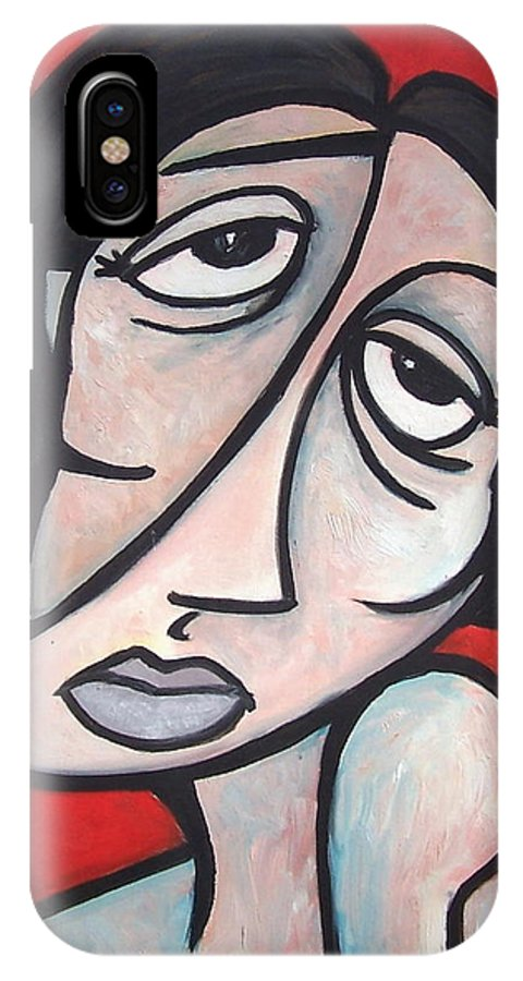 Portrait IPhone Case featuring the painting Abstract by Thomas Valentine
