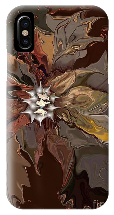 Abstract Whispering Leaves IPhone X Case featuring the digital art Abstract Whispering Leaves by Dessie Durham