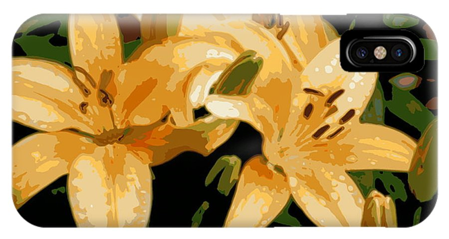 Lily IPhone X Case featuring the photograph Abstract Yellow Asiatic Lily - 1 by Kenny Glotfelty