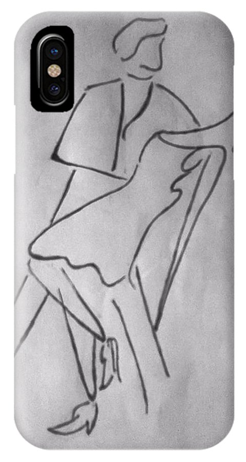 Abstract IPhone X Case featuring the drawing Abstract_couple Dancing by Yogesh Soni