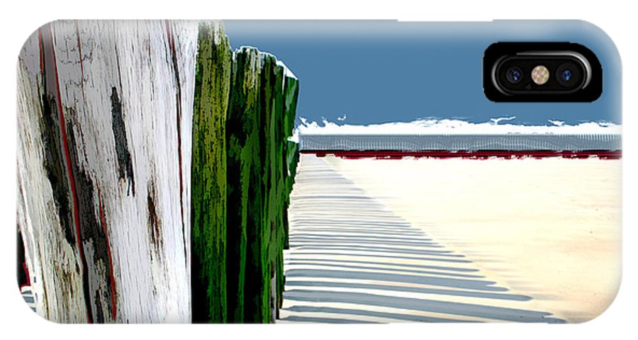 Beach IPhone X Case featuring the painting Abstracted Beach Dune Fence by Elaine Plesser