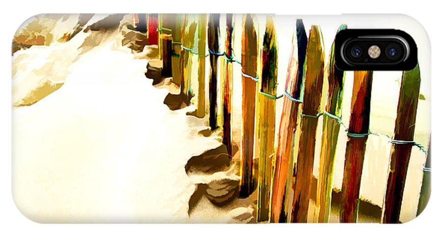 Beach IPhone X Case featuring the painting Abstracted March Of The Colored Dune Fence by Elaine Plesser