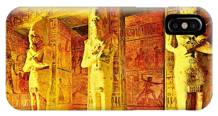 Egypt IPhone X Case featuring the digital art Abu Simbel Hypostyle Hall by Steven Pipella