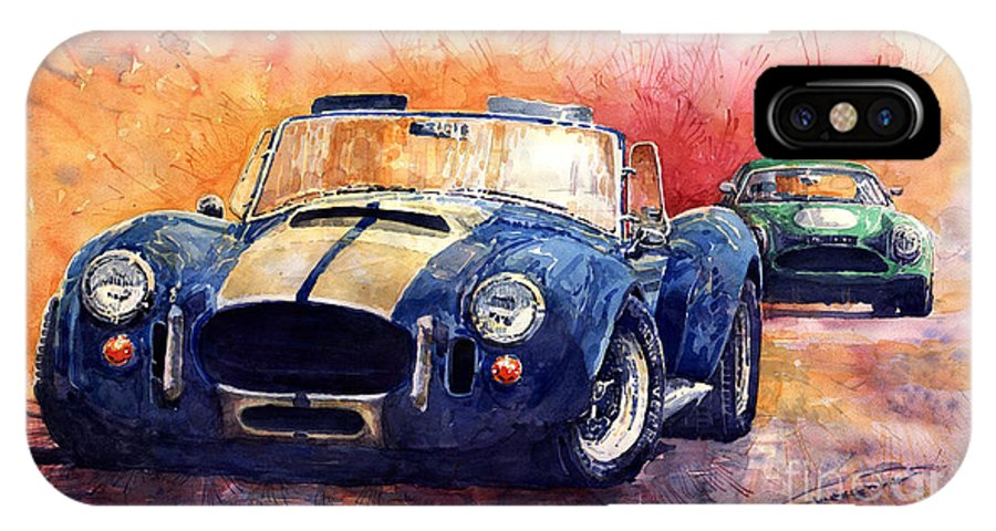 Ac Cobra IPhone X Case featuring the painting AC Cobra Shelby 427 by Yuriy Shevchuk