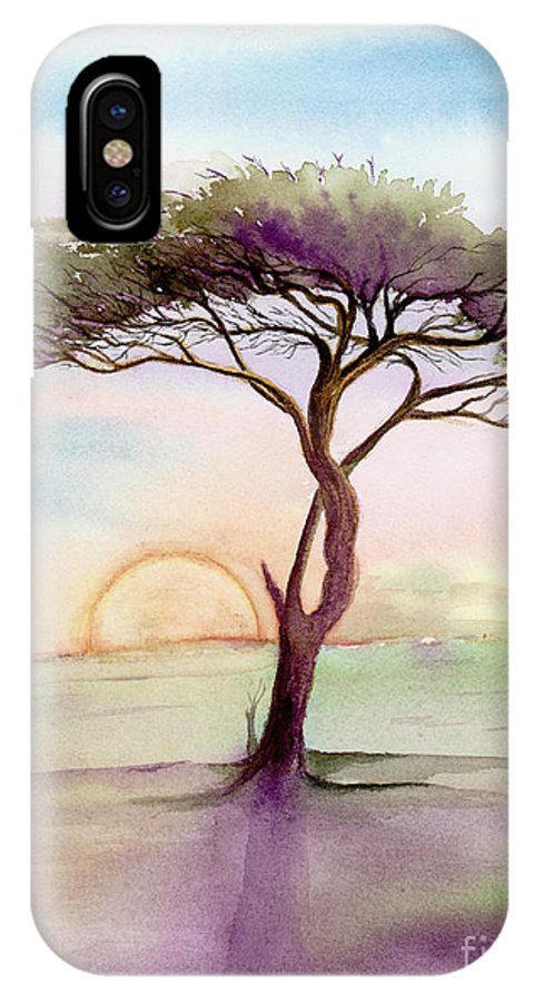 L. T. Sparrow IPhone X Case featuring the painting Acacia Sunrise by L T Sparrow