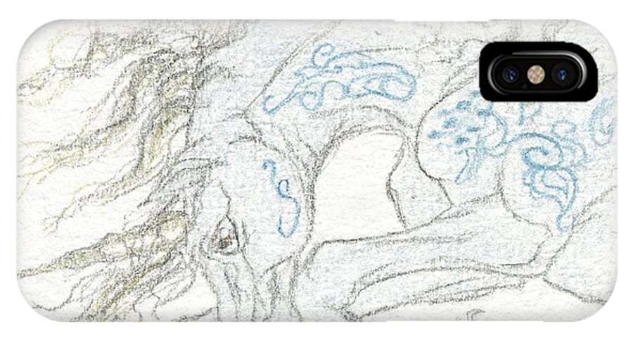 Horse IPhone X Case featuring the drawing Aceo Blue Unicorn by Jennifer Anne Esposito