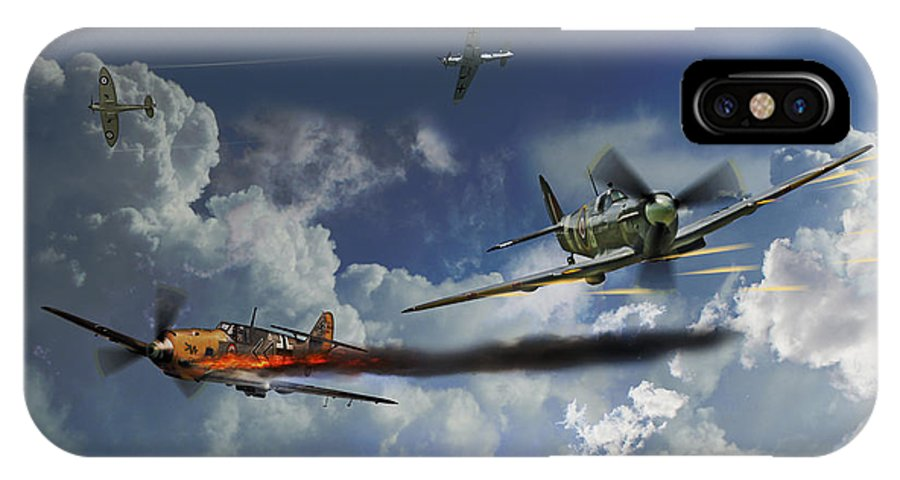 Spitfire Aviation Art IPhone X Case featuring the digital art Aces High by J Biggadike