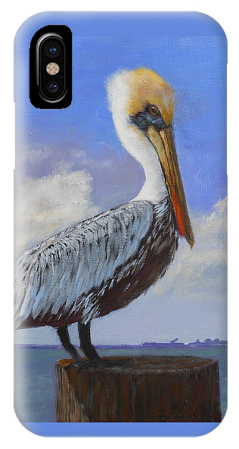 Pelican IPhone X Case featuring the painting Across The Bay by Larry Carmack
