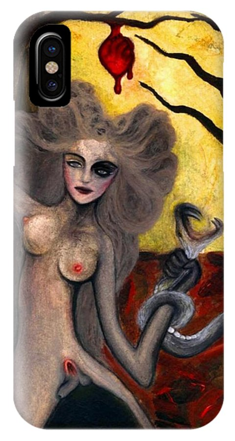 Adam IPhone X Case featuring the painting Adam and Eve by Ayka Yasis