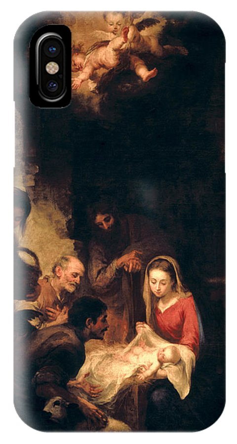 Adoration; Shepherds; Shepherd; Nativity; Jesus; Christ; Infant; Child; Virgin; Mary; Madonna; Saint; Joseph; Reverence; Awe; Kneeling; Christian; Christianity; Religion; Religious; Angel; Angels; Cherub; Cherubs; Chiaroscuro; Spanish; Baroque; Nativity IPhone X Case featuring the painting Adoration Of The Shepherds by Bartolome Esteban Murillo