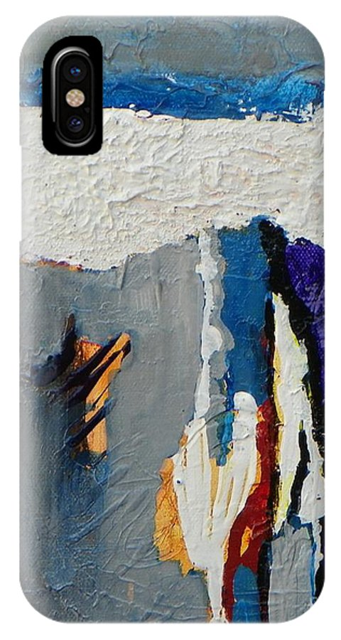 Abstract Expressionism IPhone X Case featuring the painting Adrift by Donna Frost
