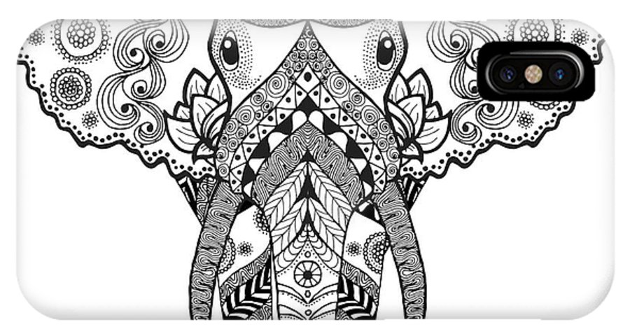 Symbol IPhone X Case featuring the digital art Adult Antistress Coloring Page. Black by Palomita