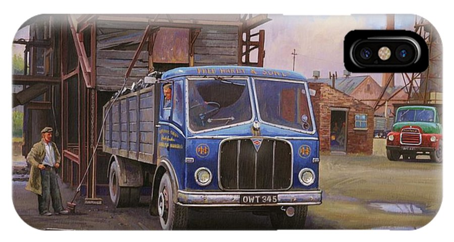 Lorry IPhone X Case featuring the painting Aec Mercury Tipper. by Mike Jeffries