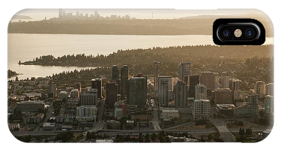 Bellevue Skyline IPhone X Case featuring the photograph Aerial View Of Bellevue Skyline by Jim Corwin