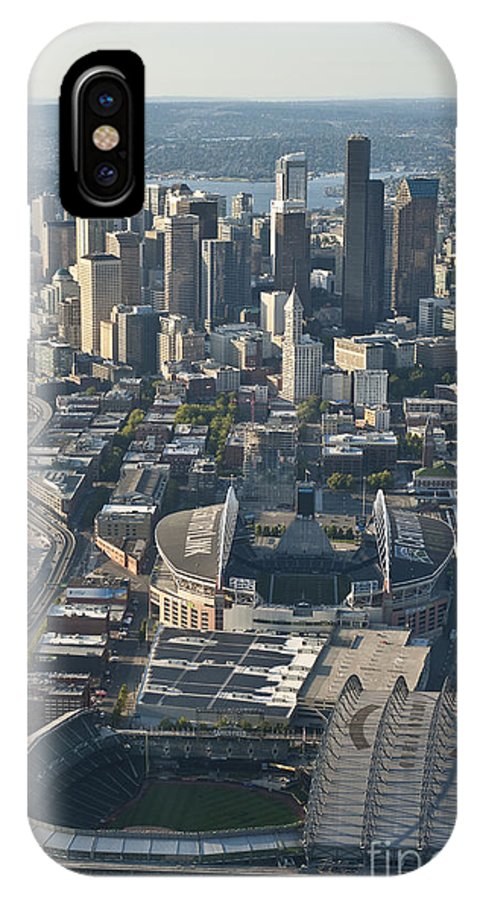 Centurylink Field IPhone X Case featuring the photograph Aerial View Of Seattle Skyline With The Pro Sports Stadiums by Jim Corwin