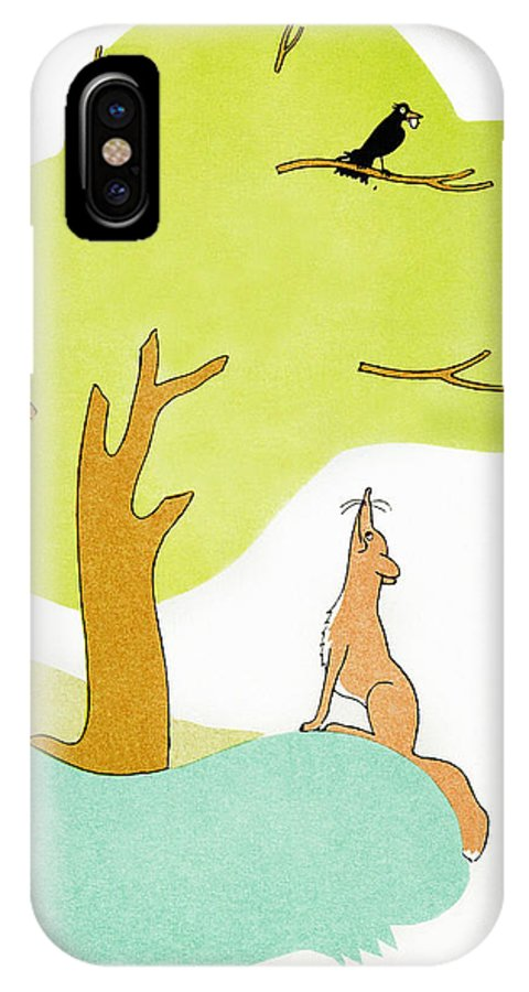 Aesop IPhone X Case featuring the photograph Aesop: Fox & Crow by Granger