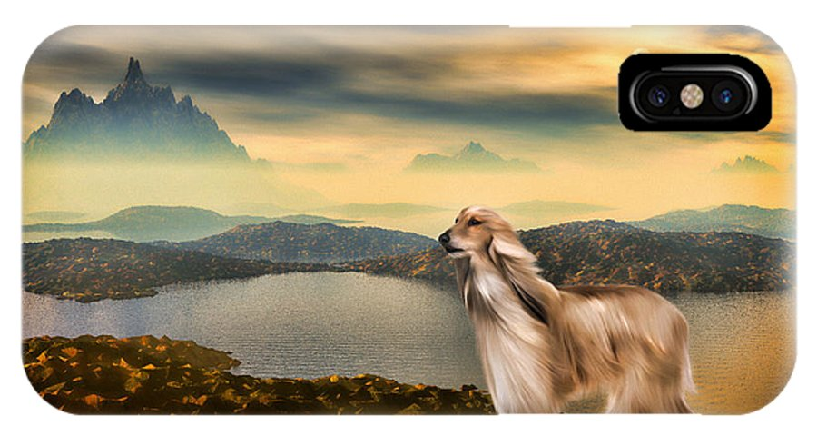 Landscape IPhone X Case featuring the painting Afghan Hound by Tyler Robbins