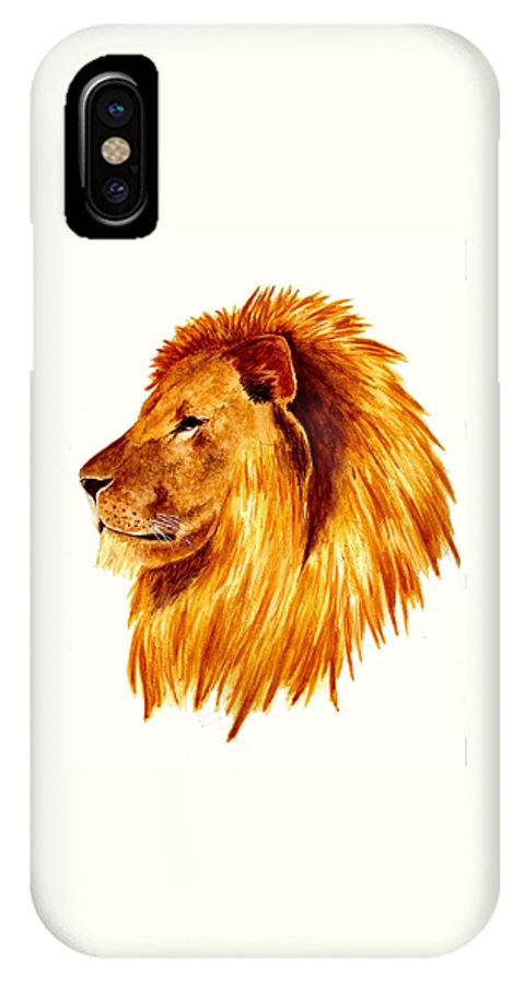 Animals IPhone X Case featuring the painting African Male Lion by Michael Vigliotti