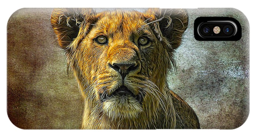 Lion IPhone X Case featuring the painting African Queen by Gary D Baker