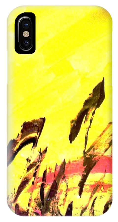 Yellow IPhone Case featuring the painting After by Bruce Combs - REACH BEYOND