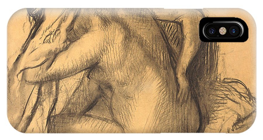 Edgar Degas IPhone X Case featuring the drawing After The Bath .woman Drying Her Hair by Edgar Degas