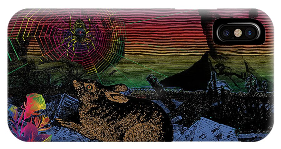 Digital Collage IPhone X Case featuring the digital art After The Flood by Eric Edelman