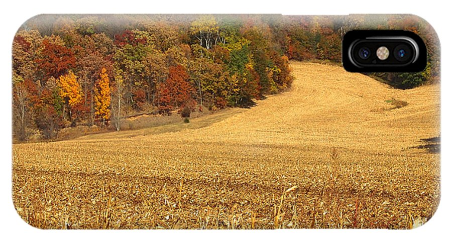 Fall Colors IPhone X Case featuring the photograph After The Harvest by John Kulberg