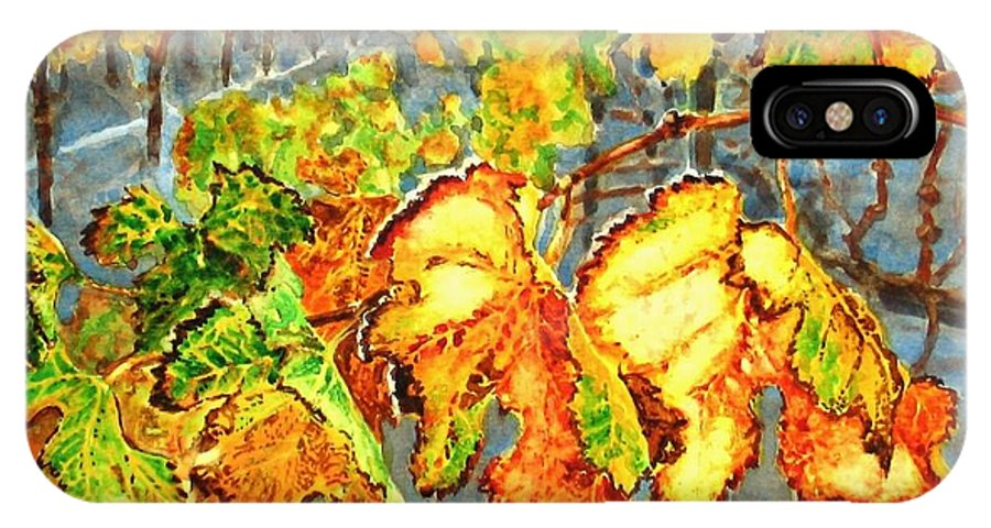 Vineyard IPhone X Case featuring the painting After The Harvest by Karen Ilari