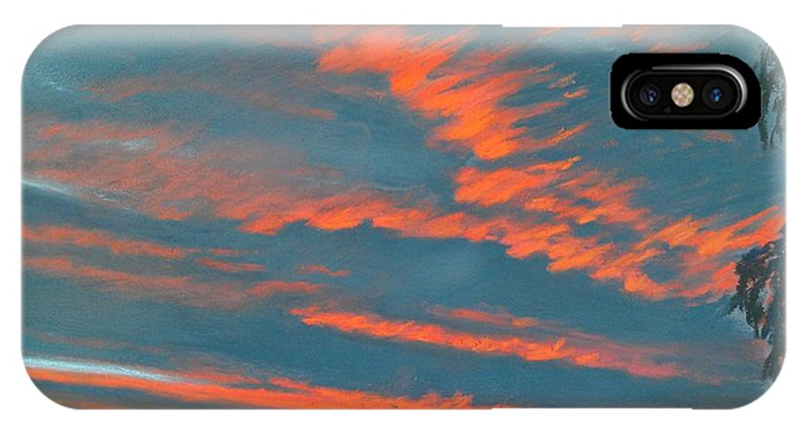 Electricity In The Red Clouds Canvas Print IPhone X Case featuring the painting After The Rain by Pamela Heward