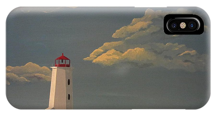Lighthouse IPhone X Case featuring the painting After The Storm by Lana Arft