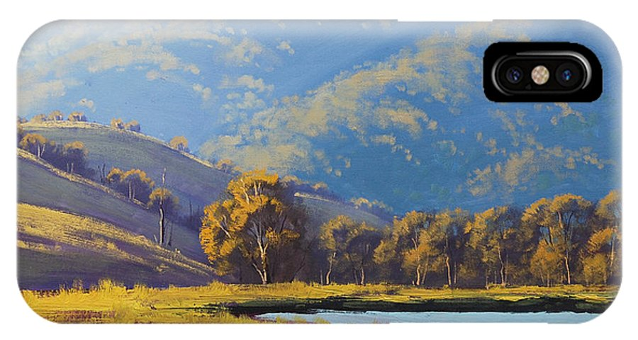 Rural IPhone X Case featuring the painting Afternnon Light Lithgow by Graham Gercken