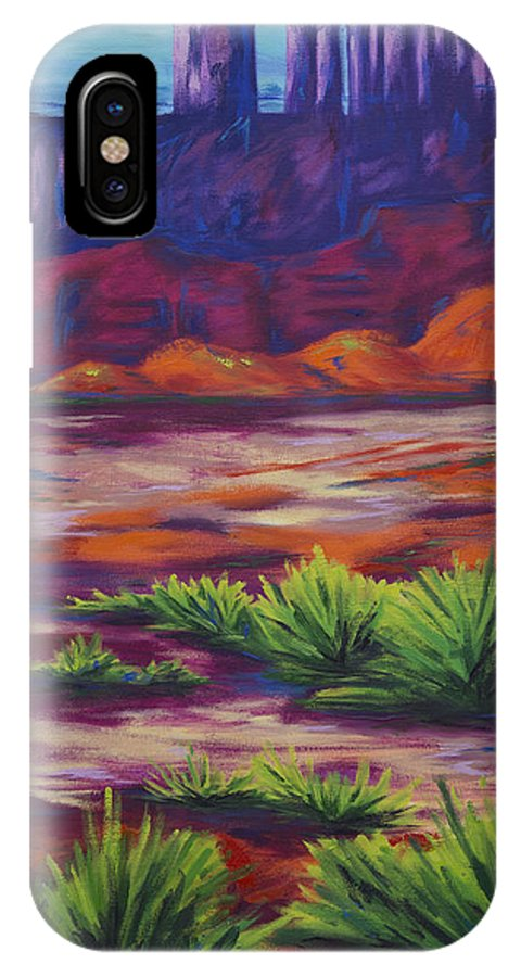 Part Of The Chromatic Canyon Series IPhone X Case featuring the painting Afternoon Distance-left by Kristin Whitney