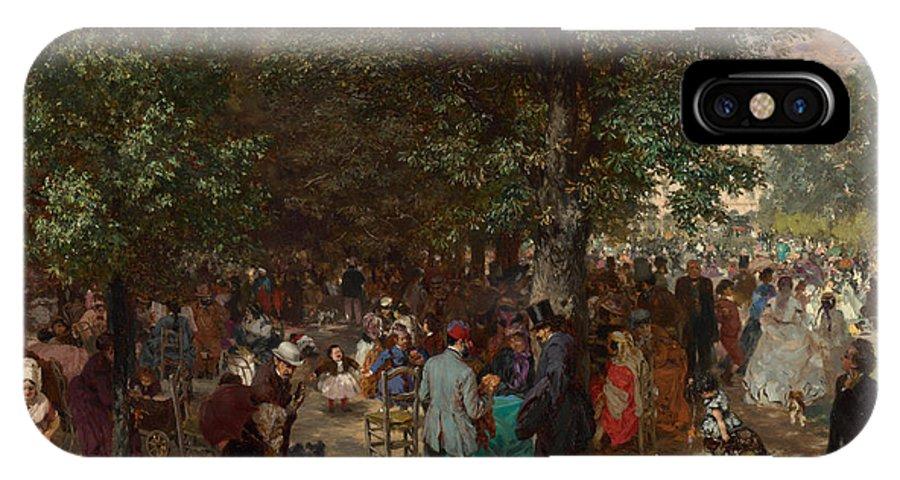 Afternoon In The Tuileries Gardens IPhone X Case featuring the painting Afternoon In The Tuileries Gardens by Adolph Friedrich Erdmann von Menzel