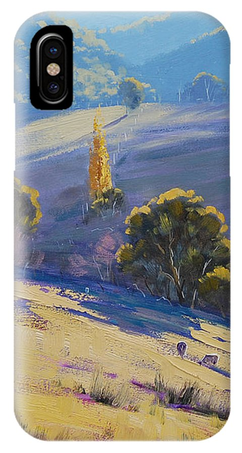 Rural IPhone X Case featuring the painting Afternoon Light Grazing by Graham Gercken